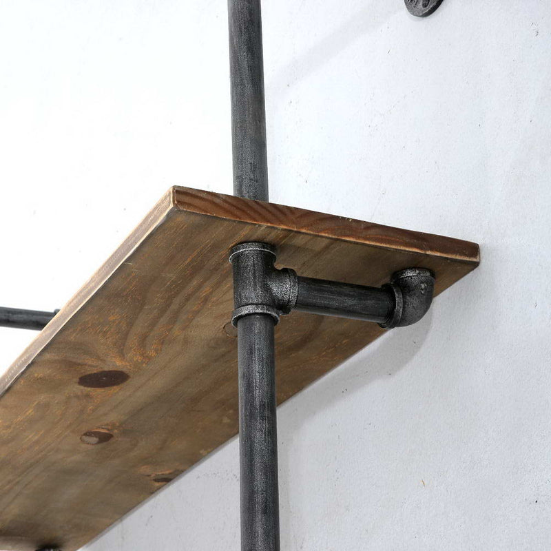 Rustic Industrial Floating Storage Shelf - Wall Mount
