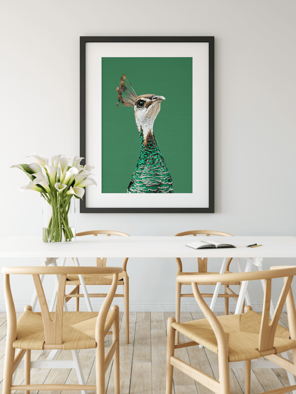 Peacock- Green Stretched Canvas Wall Art Peahen/Peafowl Bird Australia