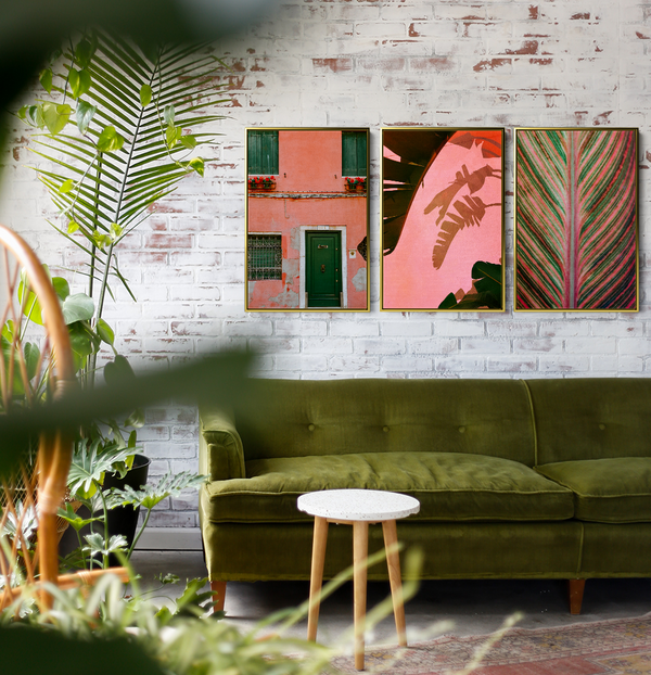 Three Piece Artwork - Pink And Green Should Always Be Seen Canvas Art