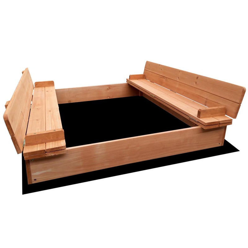 Wooden Outdoor Sandpit Set - Natural Wood