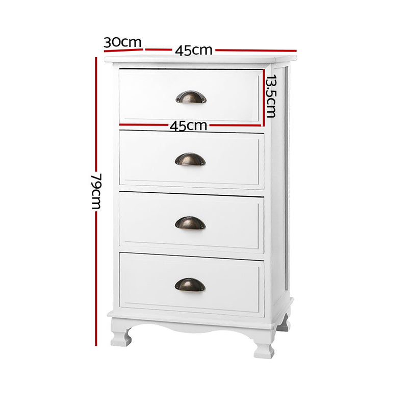 Chest 4 Drawers Tallboy Storage Cabinet - White