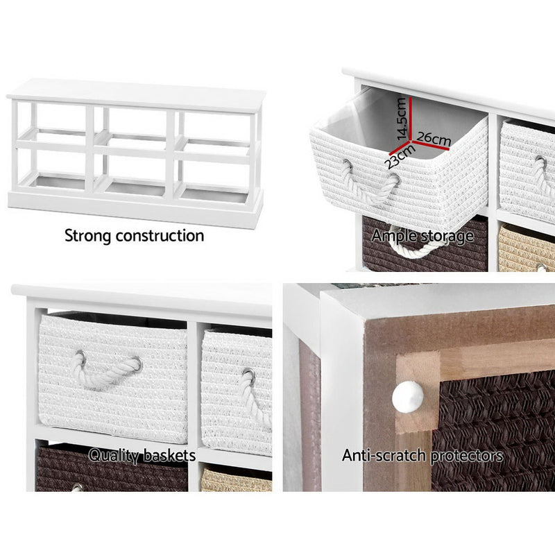 Storage Bench Shoe Organiser - 6 Drawers Chest Cabinet