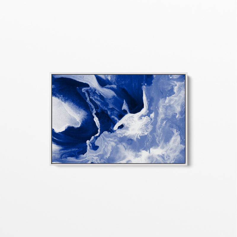 Sheet Ice - Blue Abstract Art Print Stretched Canvas Wall Art