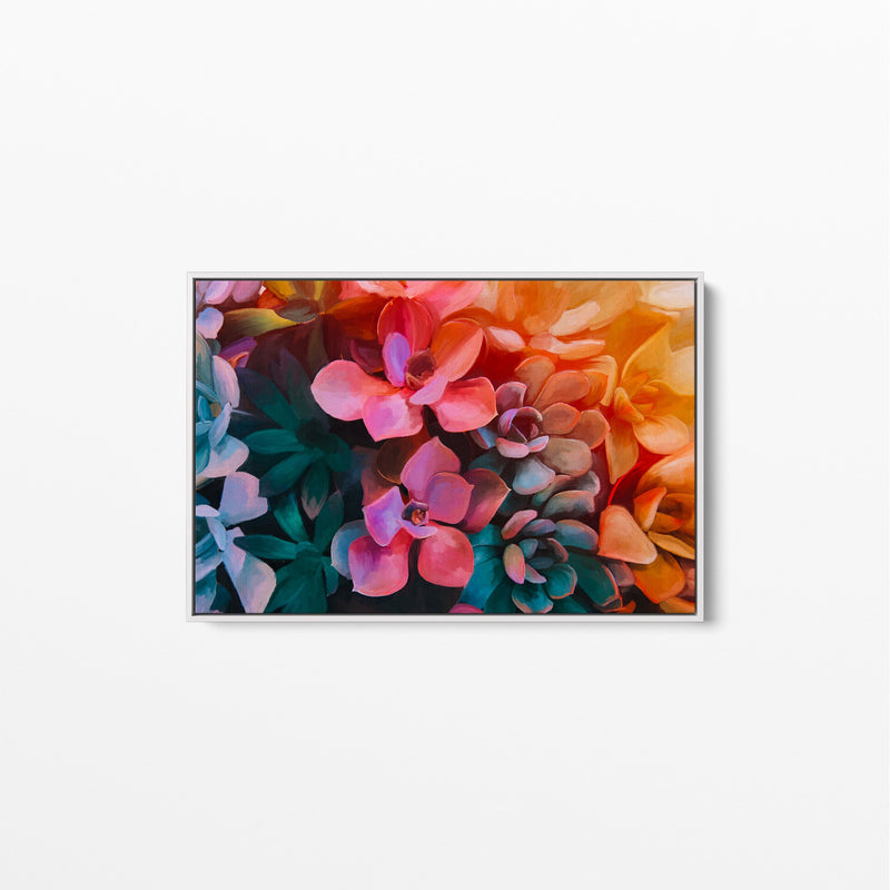 Succulent Painting Wall Art Stretched Canvas White Frame