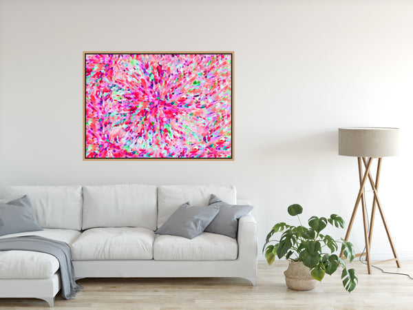 Sun Flare In Pink - Pink Abstract Artwork Stretched Canvas Wall Art