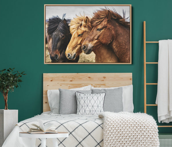Three Horses Wild Horses Stretched Canvas Wall Art Print