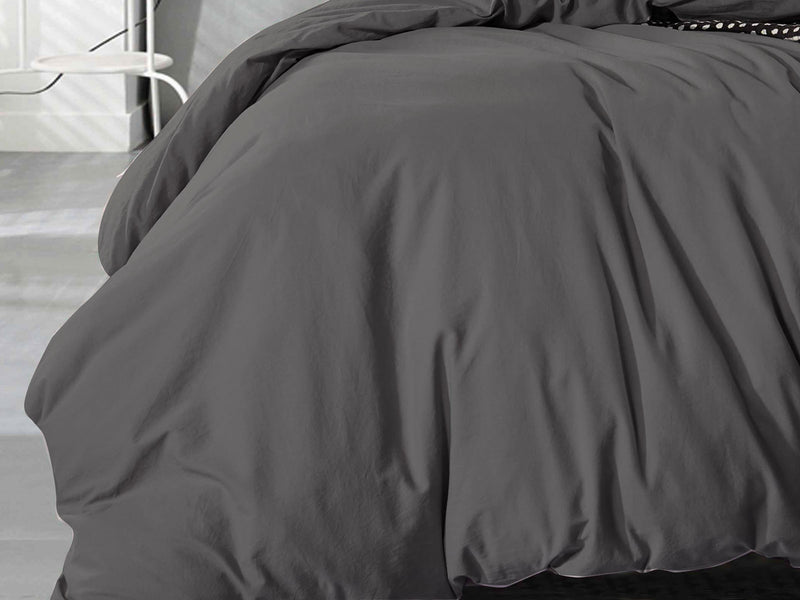 King Size Charcoal Vintage Cotton Quilt Cover Set (3PCS)