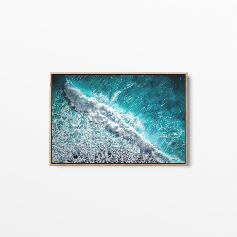 Wild Ocean- Ocean Wave Blue Stretched Canvas Wall Art Print