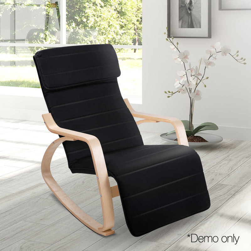 Fabric Rocking Armchair with Adjustable Footrest - Black