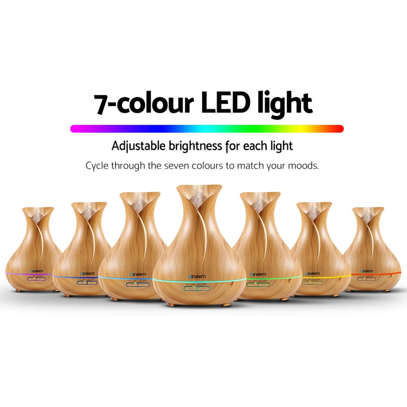 Devanti 400ml 4 in 1 Aroma Diffuser - Light Wood