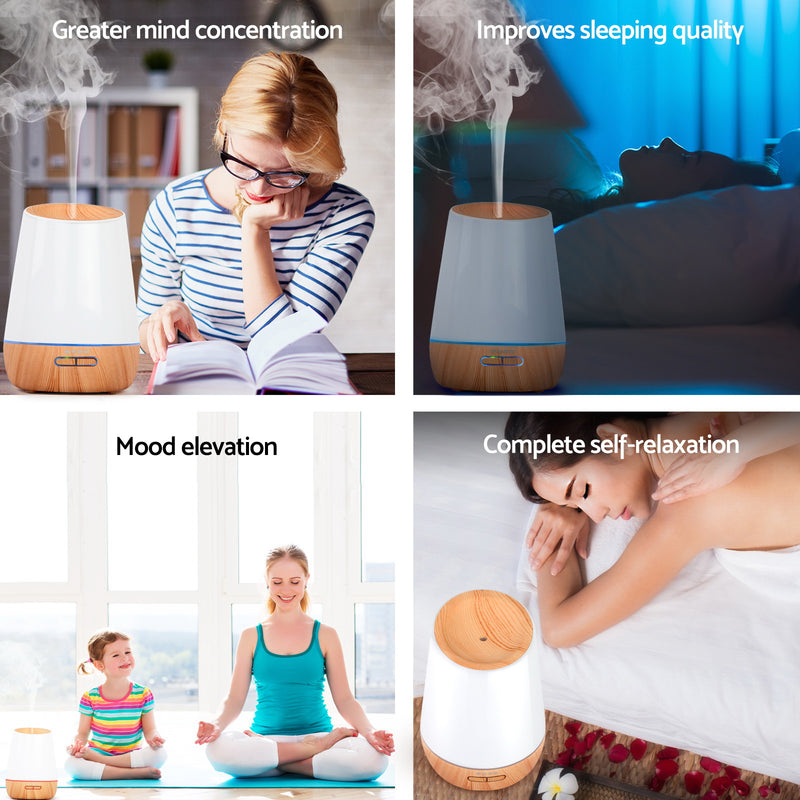4 in 1 Ultrasonic Aroma Diffuser 500ml  - Light Wood