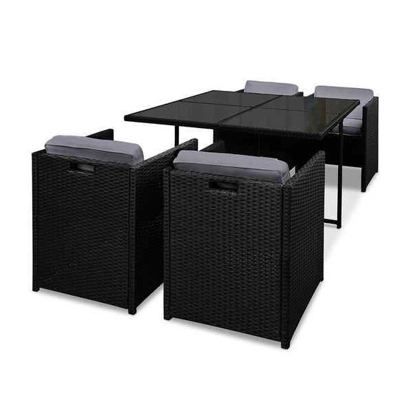 Gardeon 5 Piece Wicker Outdoor Dining Set - Black