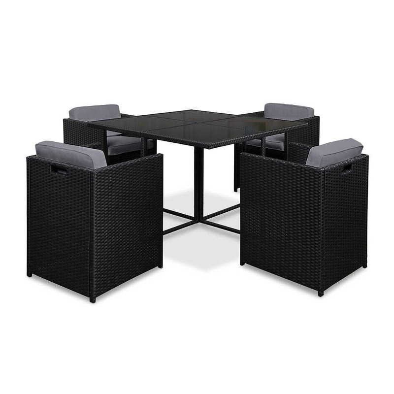 5 Piece - Wicker Outdoor Dining Set - Black