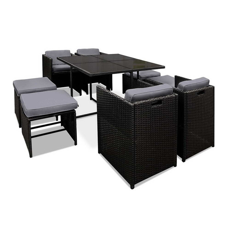 9 Piece - Wicker Outdoor Dining Set - Black & Grey