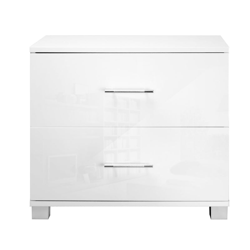 Double Drawer - High Gloss - Bedside Table - White