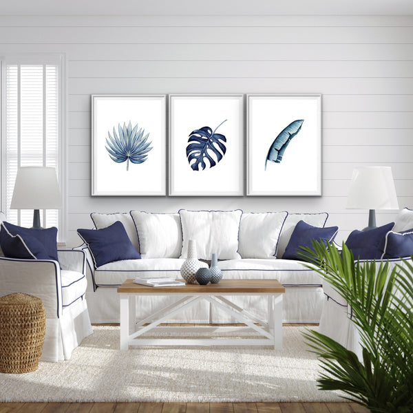 Blue Monstera Wall Art Prints
