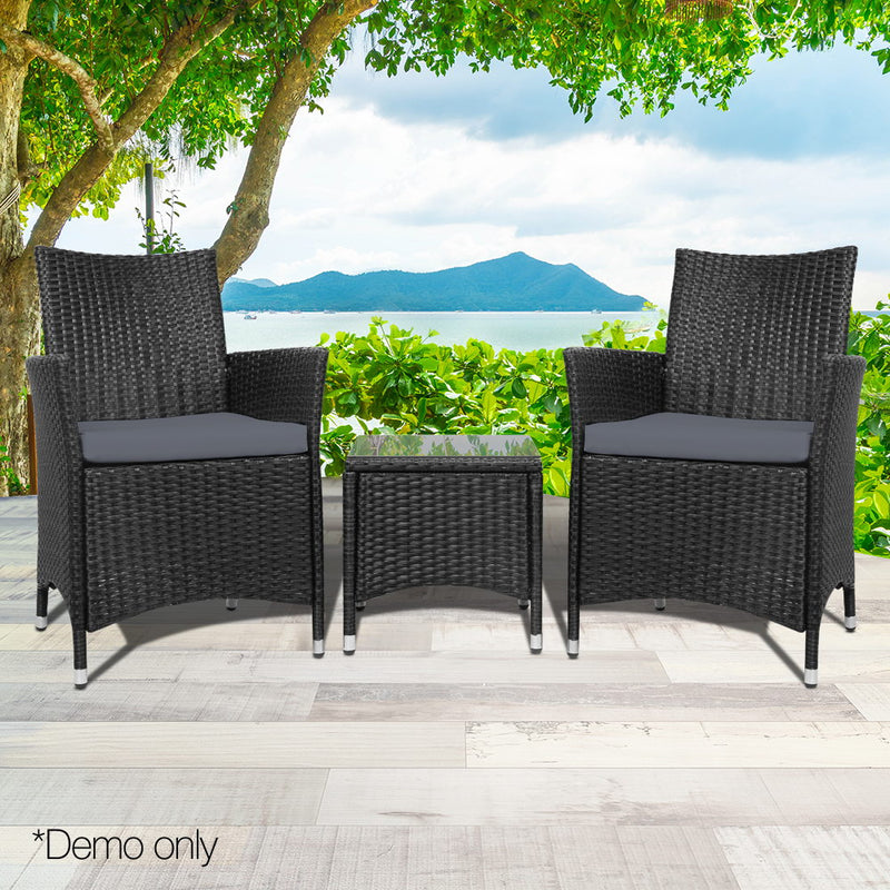 3 Piece Outdoor Furniture Set - Black