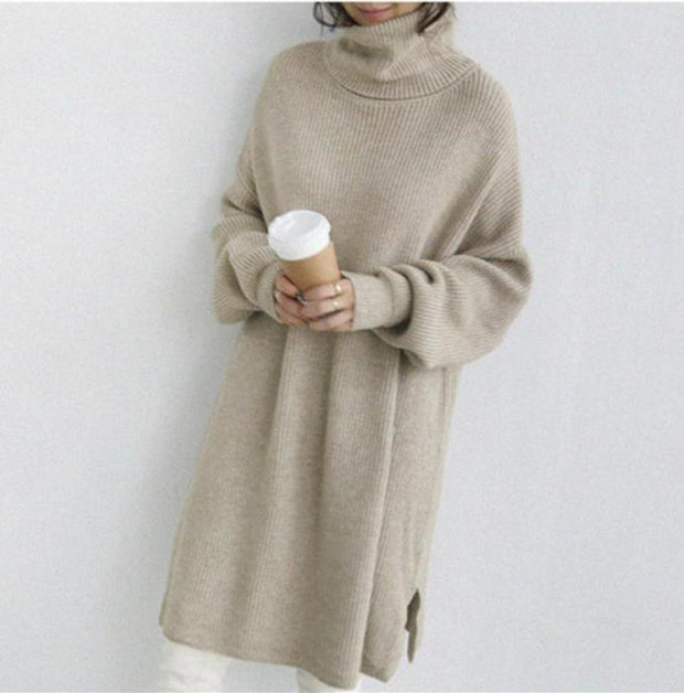 Autumn And Winter Pure Color High Collar Loose Knitted Dress