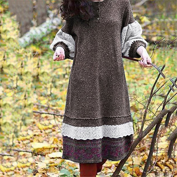 Fashion Lace Patchwork Round Neck Dress