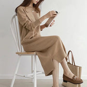 Fashion lazy wind loose slim long paragraph bottoming knit dress