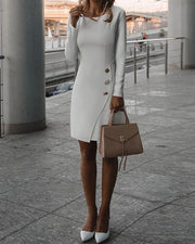 Solid Color Single-Breasted Irregular Dress Bag Hip Skirt Autumn And Winter Models Bodycon Dress