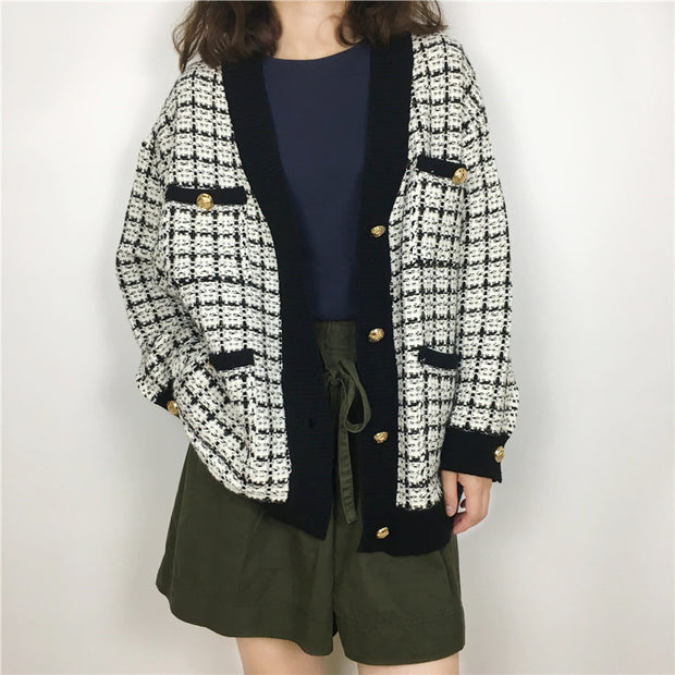 Autumn New Korean Version Of The Wild Small Fragrance V-Neck Cardigan Coat Female Check Gold Button Sweater