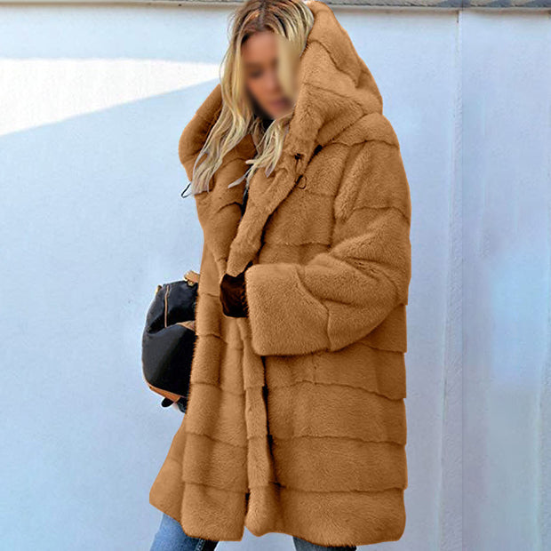 Fashionable solid color loose hooded coat