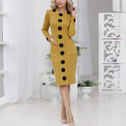 Autumn and winter positioning printed classic tight dress