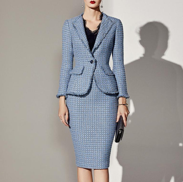 Long Sleeve Fashion European And American Professional Skirt Suit  Bodysuit