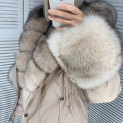 Fashion long-sleeved fur jacket (skin removable)