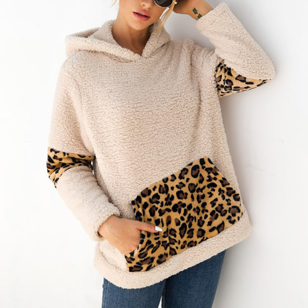 Leopard Stitching Pocket Plush Hooded Sweater