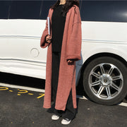 Solid color loose curled long knit cardigan
