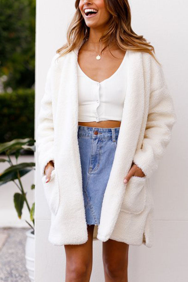 Long Knit Cardigan Plush Coat With Hood Outerwear