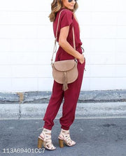 V Collar Sexy Cross Band Solid Color Jumpsuit