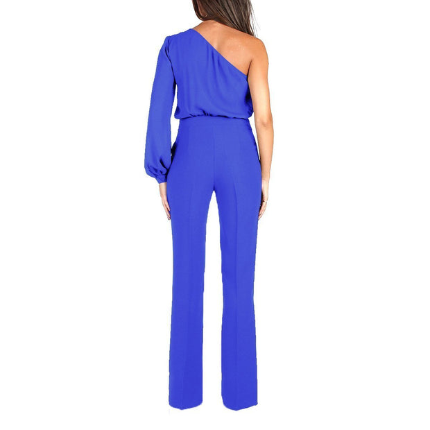 Sexy Single Shoulder Long-Sleeved Wide-Legged Jumpsuits