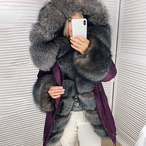 Long-sleeved drawstring fur jacket (removable collar)