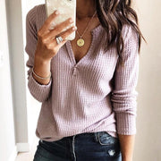 Sexy V-Neck Pure Color Loose Knitted Top