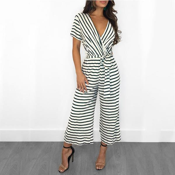 Trendy Striped Knit Casual Jumpsuit