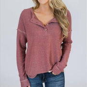 Round Neck Button Long Sleeve Plain Casual T-Shirt