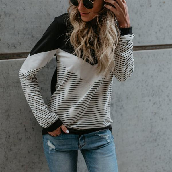 Autumn And Winter   Fashion Splice Striped Long Sleeve T-Shirt