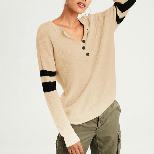 Casual Round Collar Buttons And Matching Knit T-Shirt