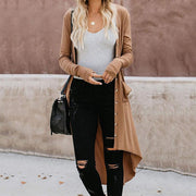 Casual Solid Color Button Irregular Long Knit Cardigan