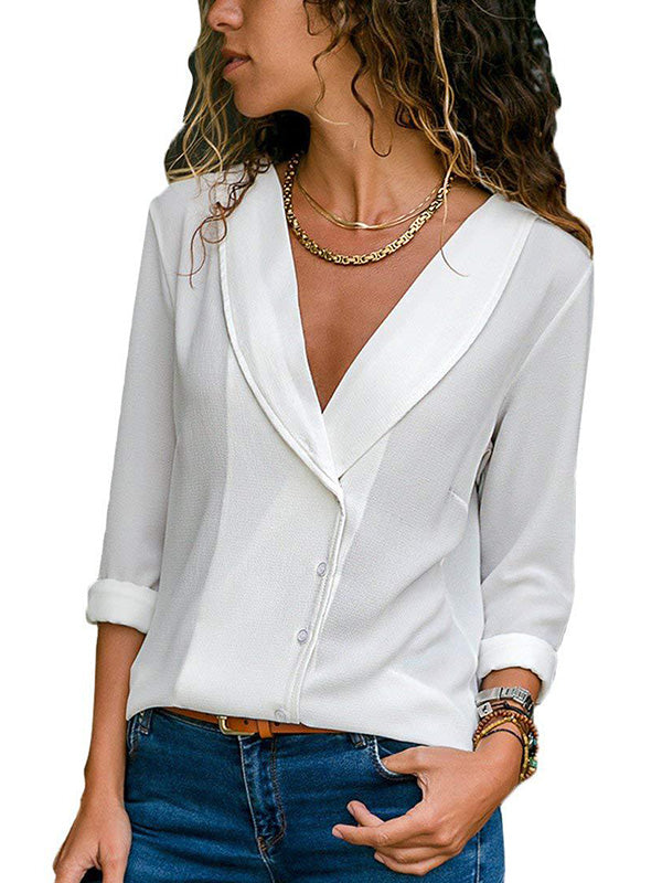 Casual Lapel Solid Color Long-Sleeved Button Multi-Color Shirt