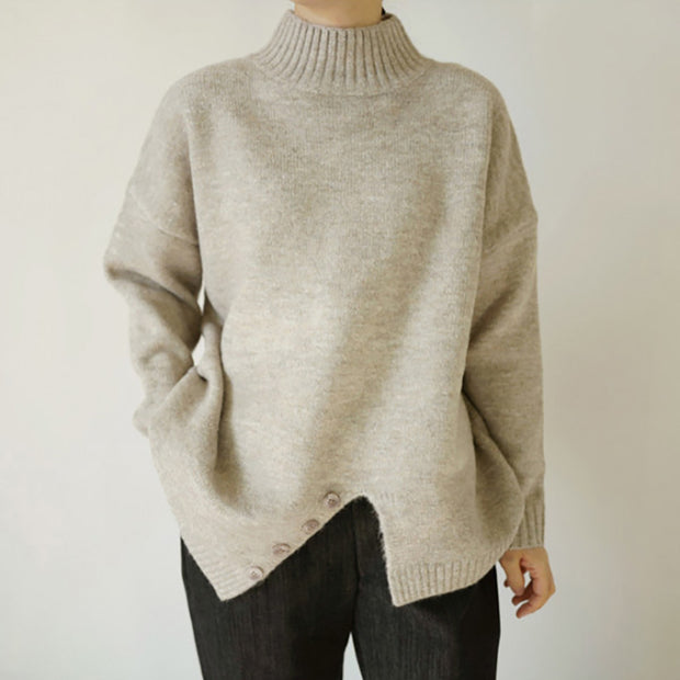 Women's Irregular Single-Breasted High-Neck Sweater Thickened Wild Sweater