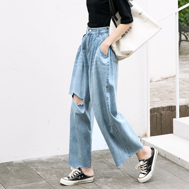 Casual Pure Colour High Waist And Wide Legs Jeans
