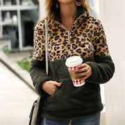 Long Sleeve Sweater Leopard Stitching Top