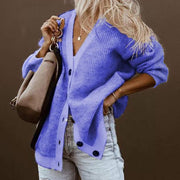 Classy Solid Color Double Button Cardigan