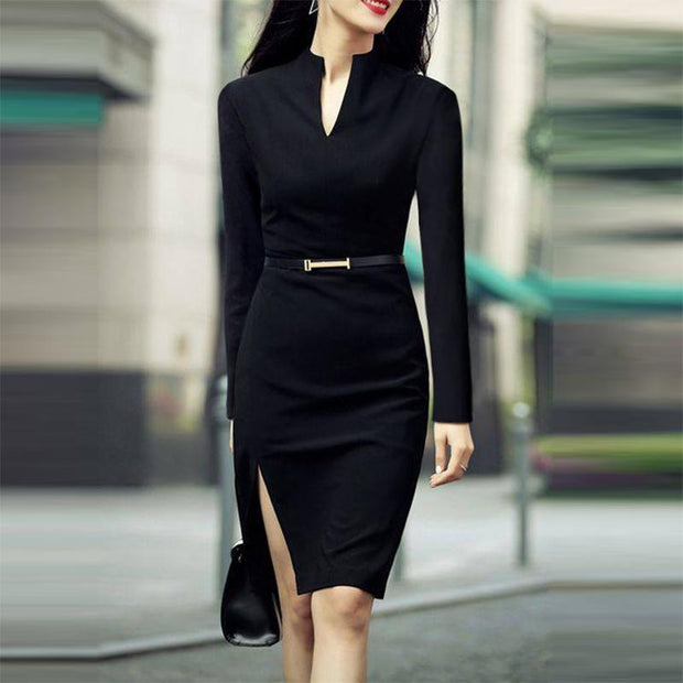 Formal Solid Color Belt Split Dress