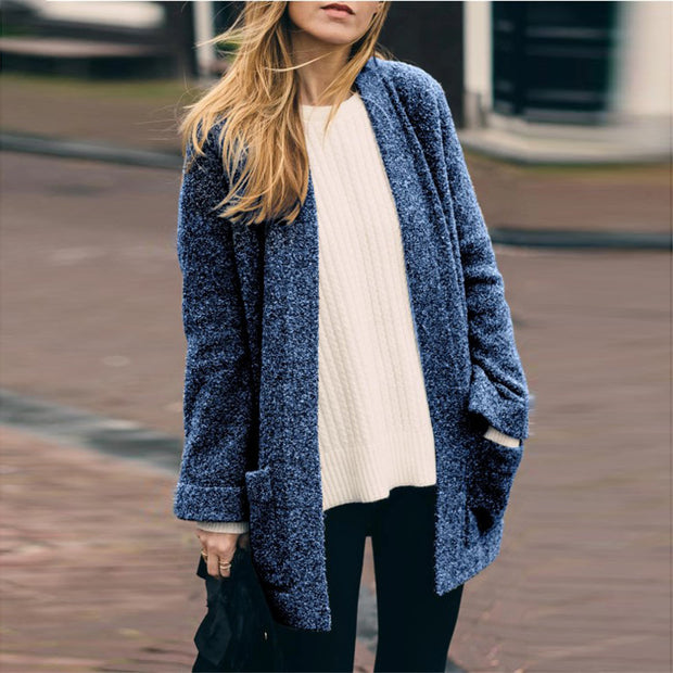 Long Sleeved Solid Color Knit Cardigan