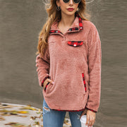 Fashion Long Sleeve Plaid Sweatshirt